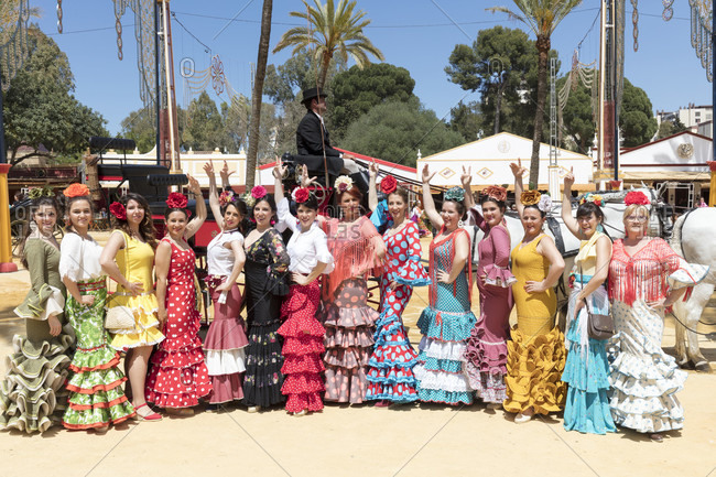 May 1, 2016: visitors, feria del caballo, festival, traditional costume, tradition, culture, customs, jerez de la frontera, andalusia, Spain, Europe
