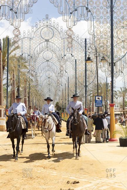 May 1, 2016: feria del caballo, rider, horse, festival, costume, tradition, culture, customs, jerez de la frontera, andalusia, Spain, Europe