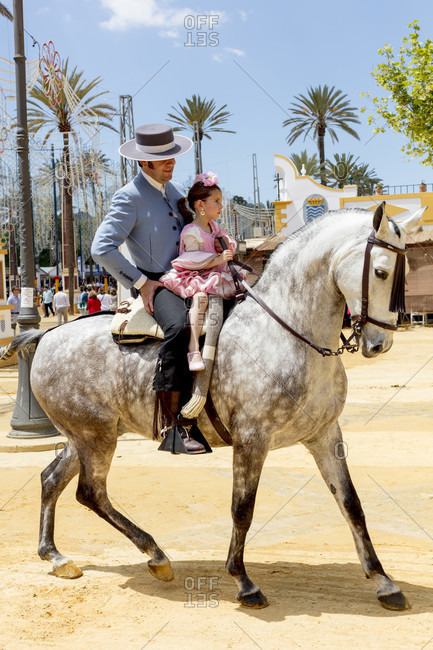 May 1, 2016: feria del caballo, rider, horse, festival, costume, tradition, culture, customs, jerez de la frontera, andalusia, Spain, Europe