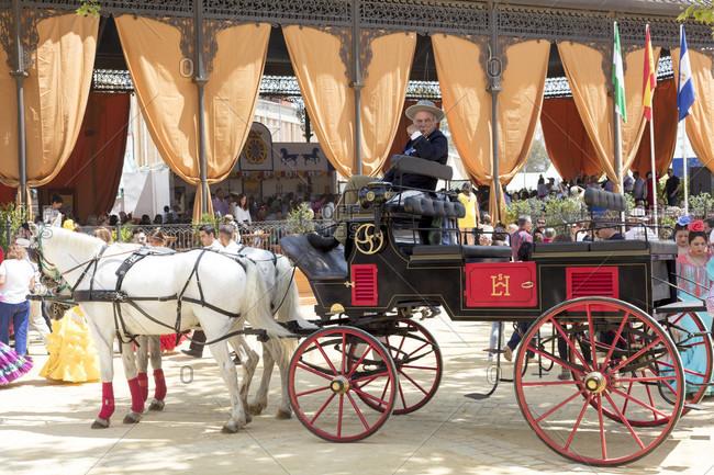 May 1, 2016: feria del caballo, carriage, festival, traditional costume, tradition, culture, customs, jerez de la frontera, andalusia, Spain, Europe