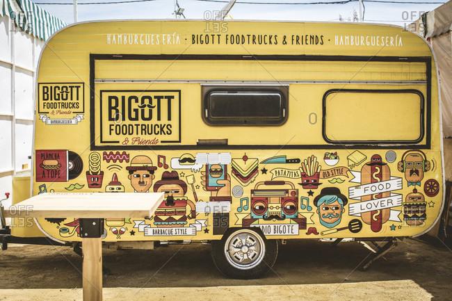 April 28, 2016: food truck, stalls, decoration, la feria de primavera, festival, el Puerto de Santa maria, andalusia, Spain, Europe