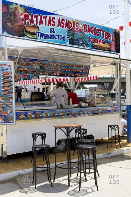 April 28, 2016: stalls, kiosk, catering, decoration, la feria de primavera, festival, el Puerto de Santa maria, andalusia, Spain, Europe