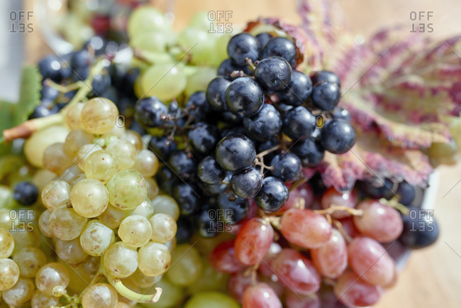 Red, white and light red grapes in a flat bowl