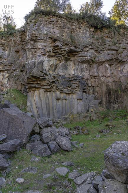 Europe, Spain, catalonia, girona province, la garrotxa, edge of a petrified lava flow at sant joan les fonts