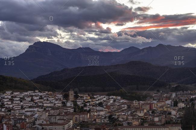 Europe, Spain, catalonia, gerona province, garrotxa, olot, view from oltsacopa volcano to olot