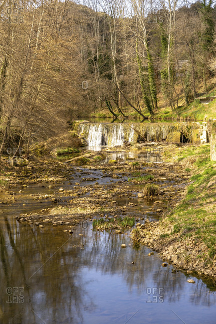 Europe, Spain, catalonia, gerona province, garrotxa, olot, view of a stream in the rural hiking area at olot