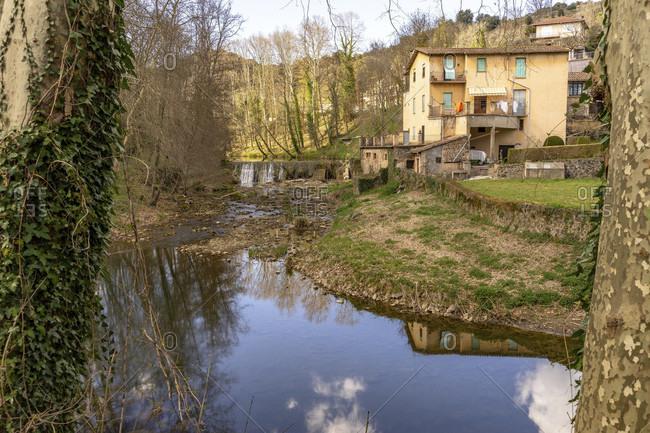 Europe, Spain, catalonia, gerona province, garrotxa, olot, view of a stream at olot