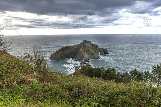 Europe, spain, basque country, biscay, bay of biscay, costa vasca, view of gaztelugatxe