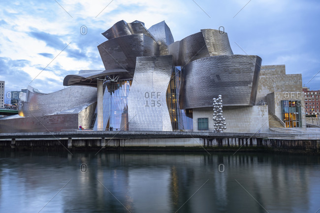 April 6, 2019: europe, spain, basque country, vizcaya province, bilbao, view over the nervión to the guggenheim museum bilbao