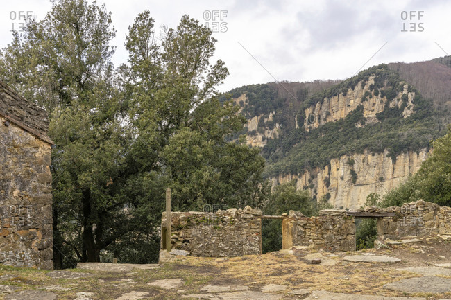 Europe, spain, catalonia, girona province, garrotxa, santa pau, santuario de santa maria de finestres