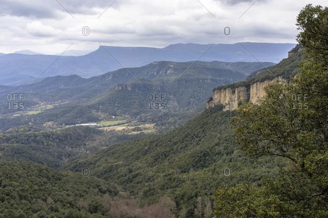 Europe, spain, catalonia, gerona province, garrotxa, santa pau, view from the sanctuary of santa maria de finestres to the surrounding pyrenees landscape