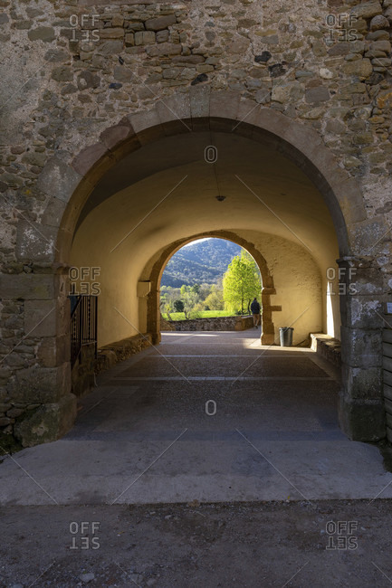 Europe, spain, catalonia, girona province, garrotxa, santa pau, passage at the casa colonies els arc near santa pau