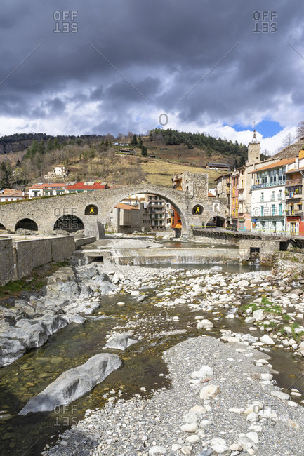 April 4, 2019: europe, spain, catalonia, girona, ripollès, camprodon, view of the pont nou bridge in camprodon