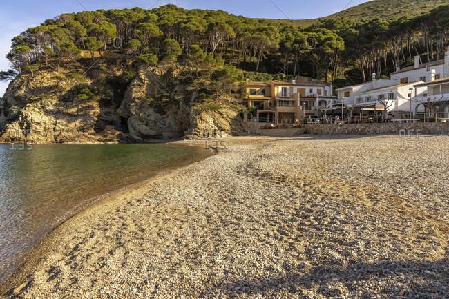April 1, 2019: europe, spain, catalonia, girona, baix emporda, begur, platja cala aiguablava beach near begur