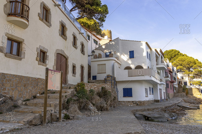 April 1, 2019: europe, spain, catalonia, girona, baix emporda, begur, holiday homes in the cala aiguablava bay