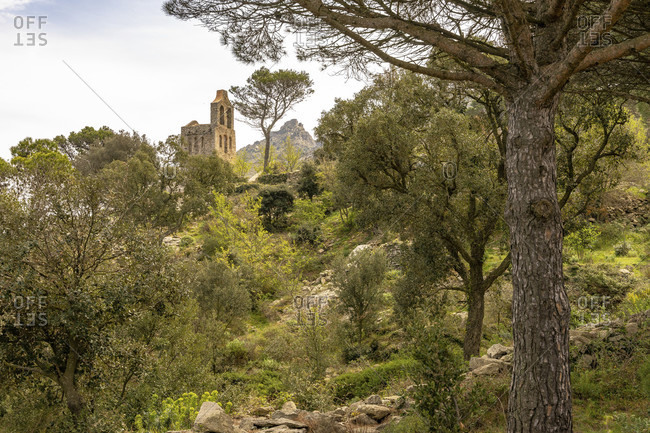 Europe, spain, catalonia, girona, alt emporda, port de la selva, view of the santa helena de rodes church