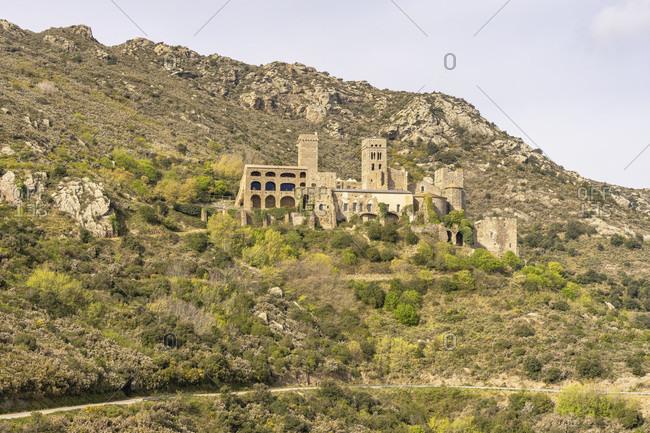 Europe, spain, catalonia, girona, alt emporda, port de la selva, view of the sant pere de rodes monastery in the hinterland of the costa brava