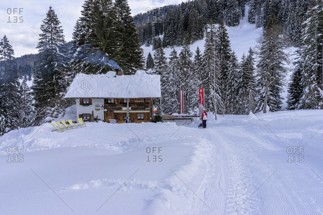 January 20, 2019: europe, austria, vorarlberg, montafon, rätikon, gauertal, gauertalhaus in the snow-covered gauertal