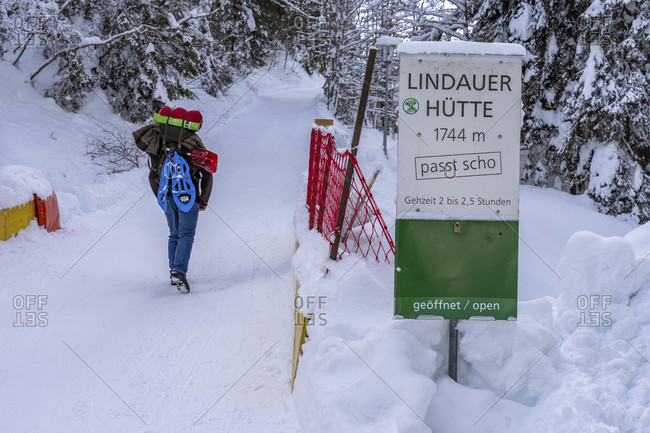 January 20, 2019: europe, austria, vorarlberg, montafon, rätikon, gauertal, lindauer hutte, hikers in the ascent to lindauer hutte