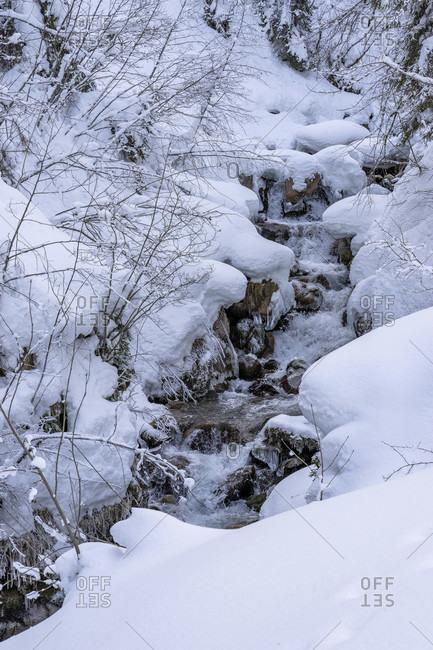 Europe, austria, vorarlberg, montafon, rätikon, gauertal, snow-covered mountain stream in the gauertal