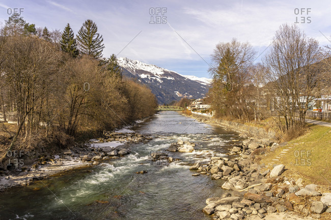 Europe, austria, tyrol, east tyrol, lienz, view of the drava river in lienz