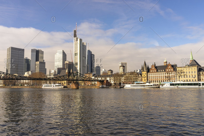February 5, 2019: europe, germany, hesse, frankfurt, view over the main to the eiserner steg and the frankfurt skyline