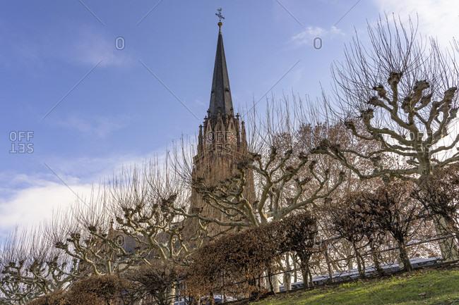 Europe, germany, hesse, frankfurt, view from the main on the dreikonigskirche in frankfurt