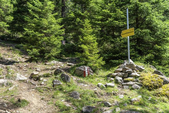 July 10, 2019: europe, austria, tyrol, otztal alps, gries im sulztal, ascent to the winnebachsehutte