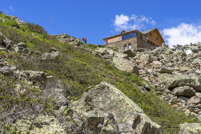 Europe, austria, tyrol, otztal alps, otztal, gries im sulztal, view of the winnebachsehutte in sellrain