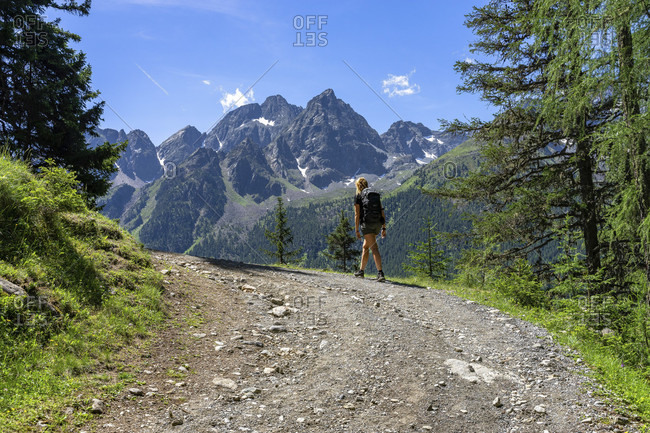 Europe, austria, tyrol, otztal alps, otztal, gries im sulztal, mountain hiker on the way to the winnebachehutte in front of the sulztalamm