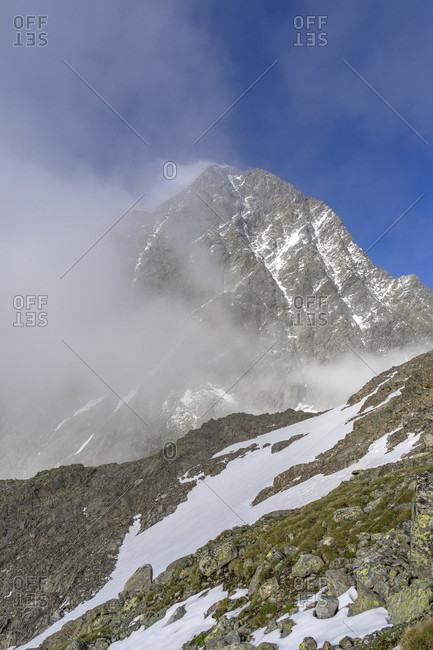 Europe, austria, tyrol, otztal alps, pitztal, plangeross, cloud mood at the watzespitze in the kaunergrat