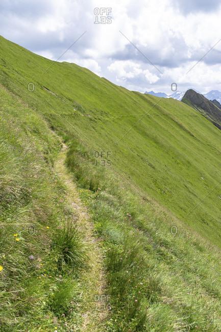 Europe, austria, tyrol, east tyrol, kals am großglockner, sudetendeutscher hohenweg through a steep mountain slope