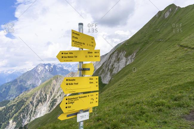 July 20, 2019: europe, austria, tyrol, east tyrol, kals am großglockner, signpost on the sudeten german high trail on the hohen tor