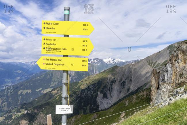 July 15, 2019: europe, austria, tyrol, east tyrol, kals am großglockner, signpost on the kalser hohe