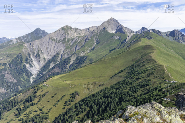 Europe, austria, tyrol, east tyrol, kals am großglockner, view of the kalser hohe and the surrounding peaks