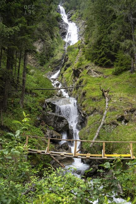 Europe, austria, tyrol, otztal alps, otztal, umhausen, tumpener waterfall on the way to the armelenhutte
