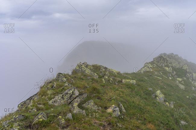 Europe, austria, tyrol, otztal alps, otztal, umhausen, summit ridge on the first karkopf in the otztal