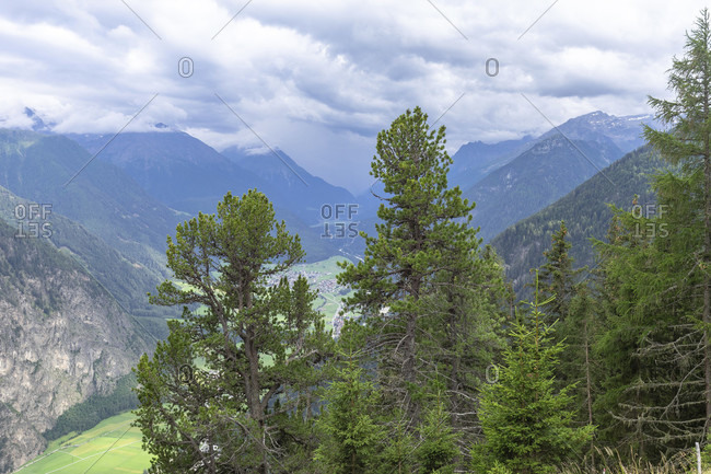 Europe, austria, tyrol, otztal alps, otztal, umhausen, view from the armelenhutte into the otztal