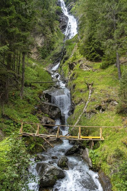 Europe, austria, tyrol, otztal alps, otztal, umhausen, tumpener waterfall in the ascent to the armelenhutte