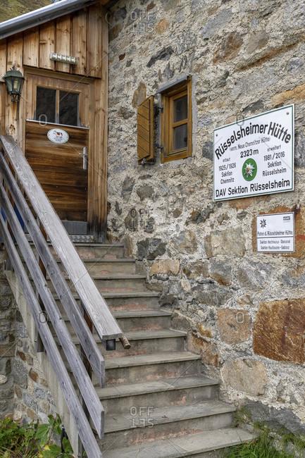 September 22, 2019: europe, austria, tyrol, otztal alps, pitztal, piosmes, russelsheimer hutte, entrance area of the russelsheimer hutte