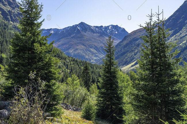 Europe, austria, tyrol, otztal alps, pitztal, piosmes, russelsheimer hutte, view of the pitztal mountains ascending to the russelsheimer hutte