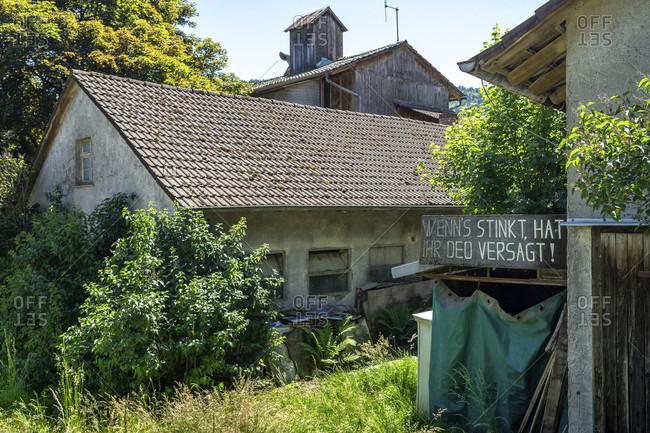 June 2, 2019: europe, germany, baden-wuerttemberg, black forest, ottenhofen, small farm on muhlenweg near ottenhofen