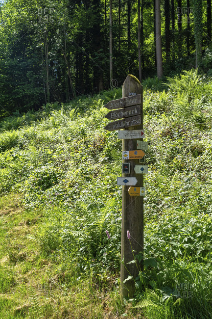June 2, 2019: europe, germany, baden-wuerttemberg, black forest, ottenhofen, signpost on the schnapsbrunnenweg at ottenhofen