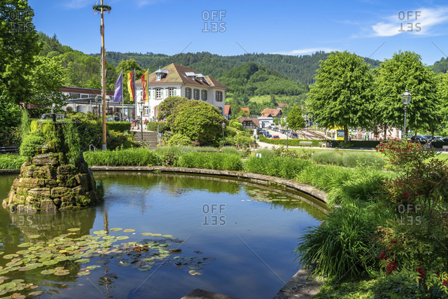 June 2, 2019: europe, germany, baden-wuerttemberg, black forest, sasbachwalden, kurpark in ottenhofen