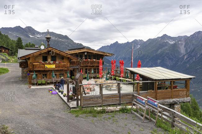 July 11, 2019: europe, austria, tyrol, otztal alps, otztal, lople alm snack station above zwieselstein