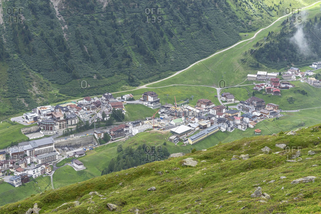 Europe, austria, tyrol, otztal alps, otztal, view of obergurgl in the otztal