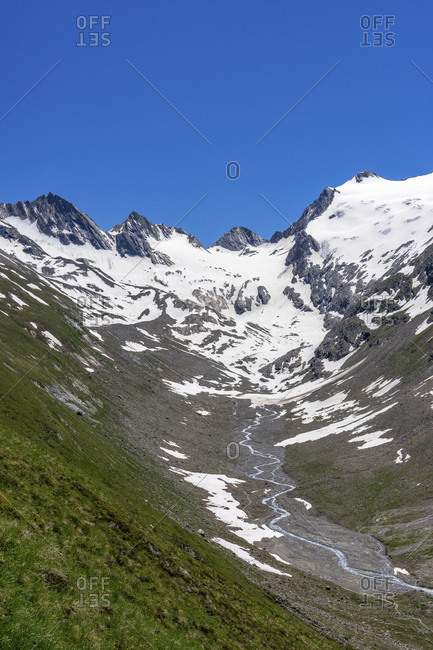 Europe, austria, tyrol, otztal alps, otztal, view of the rotmoostal and the rotmoosferner at the end of the valley
