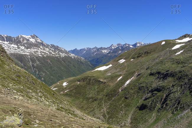 Europe, austria, tyrol, otztal alps, otztal, view from the mutsattel towards otztal