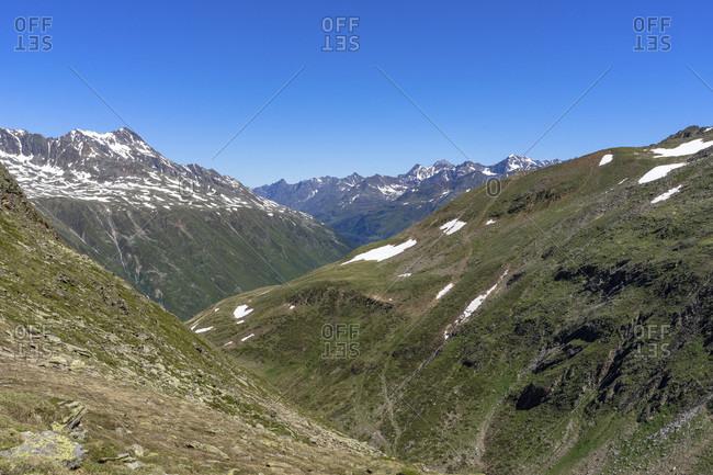 Europe, austria, tyrol, otztal alps, otztal, view from the mutsattel towards otztal