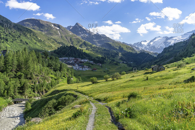 Europe, austria, tyrol, otztal alps, otztal, hiking trail on the gurgler ache with a view of obergurgl, the hangerer and the gurgler ferner